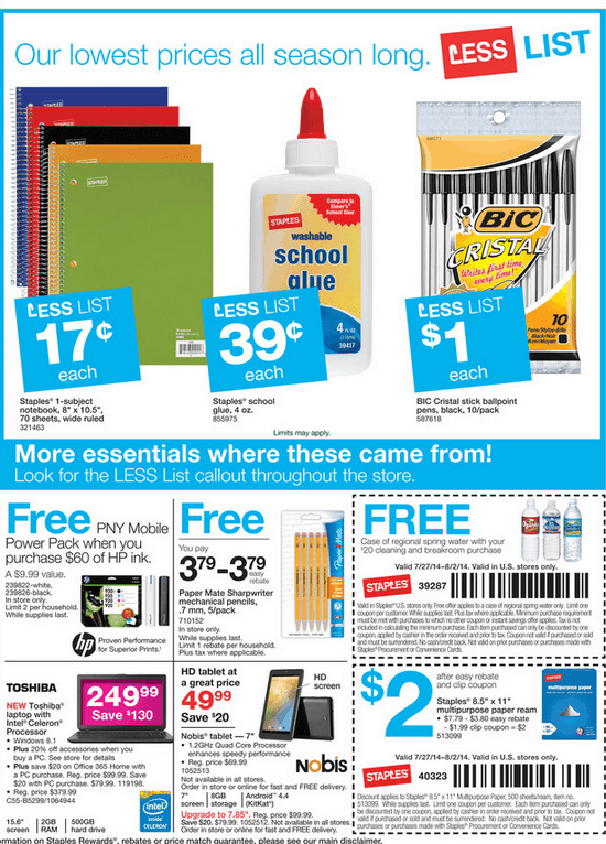 Staples Back To School Deals for 07/27/2014