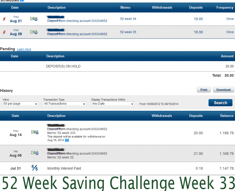 52 Week Saving Challenge Week 33