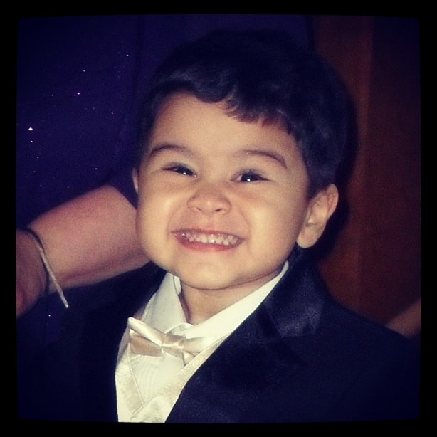 BaBy A at our wedding. He does wonderful walking down the aisles.