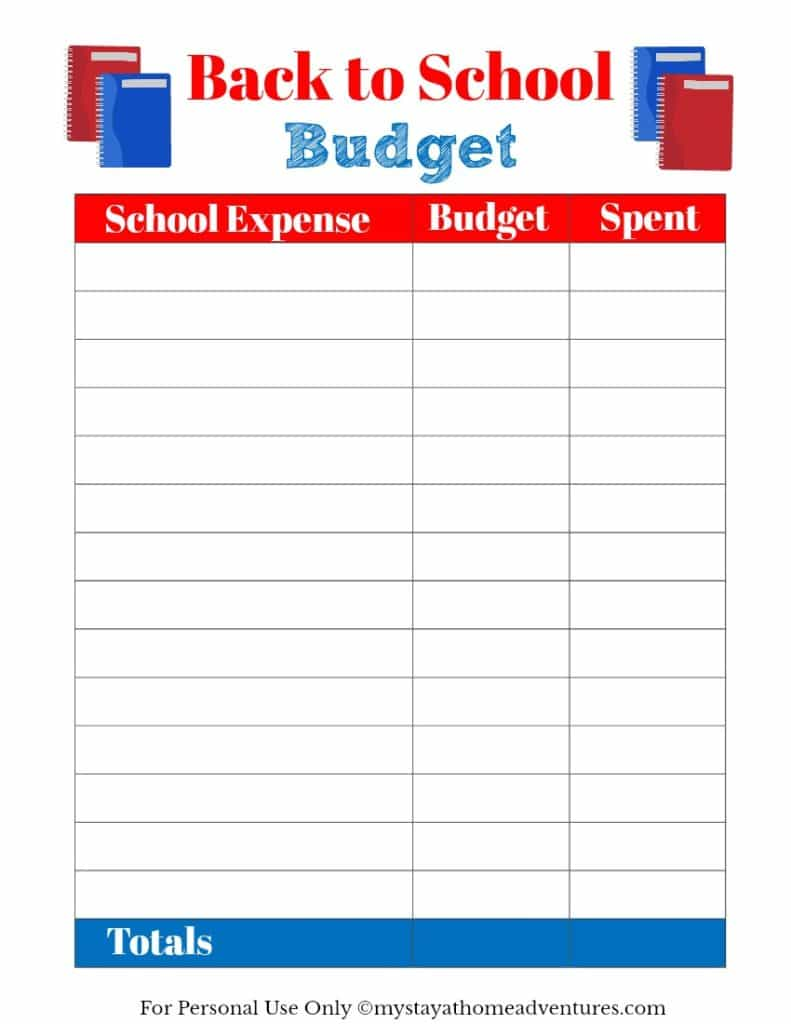 Free back to school budget printable available to help you stay on budget this shopping season.