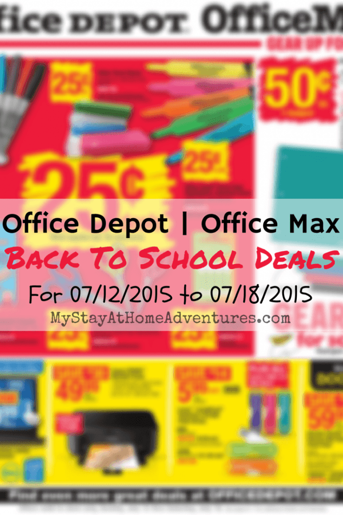 Get the latest Office Depot/Office Max Back To School Deals for the week of 07/12/2015 to 07/18/2015.