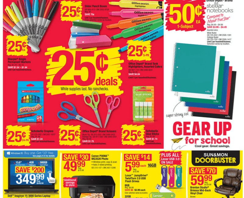 Office Depot/Office Max Back To School Deals For 07/12/2015
