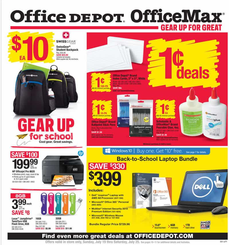 Here are the latest Office Depot/Office Max Back To School Deals for 07/19 to 07/25.