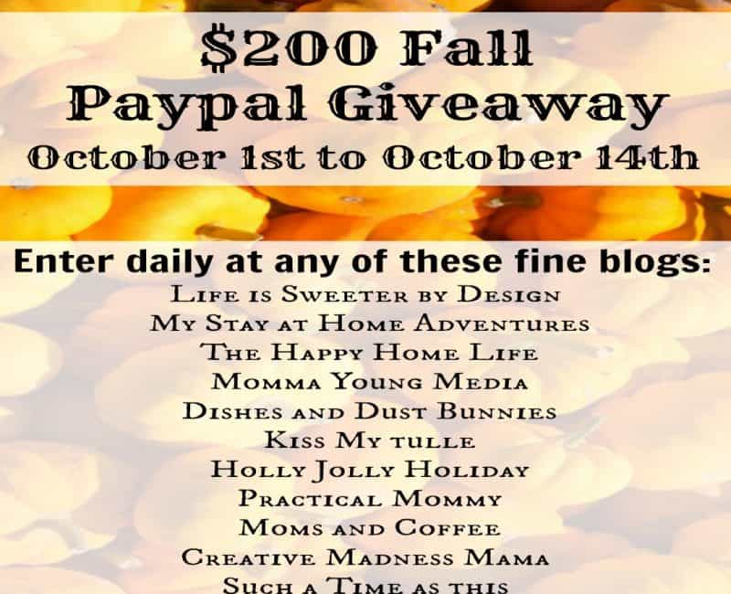 $200 Fall PayPal Giveaway