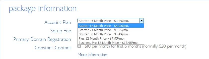 bluehost monthly charges