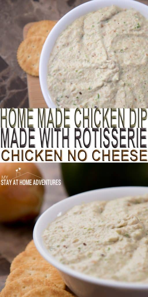 Learn how to make a quick and easy chicken dip with leftover rotisserie chicken and no cheese! Yes, it taste amazing and your family will love it!
