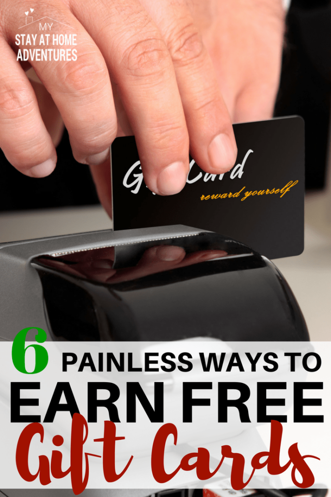Learn how to earning free gift cards the legit and easy way. These 6 painless ways to earn free gift cards are fun, and family friendly!