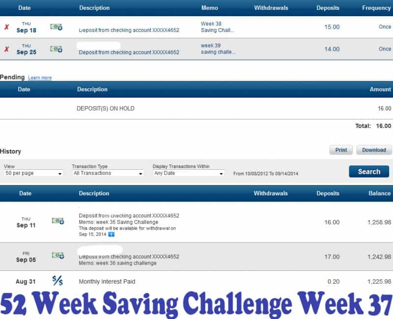 52 Week Saving Challenge Week 37