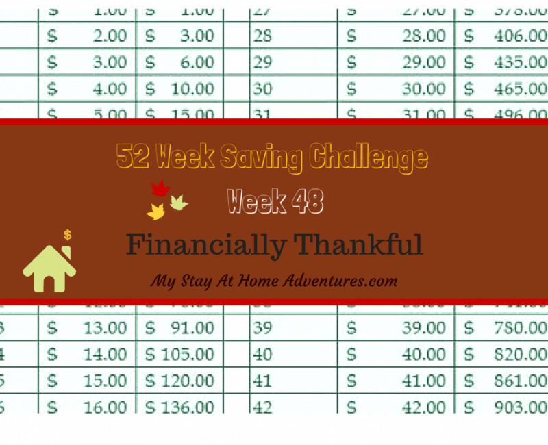52 Week Saving Challenge Week 48: What Are You Financially Thankful For?