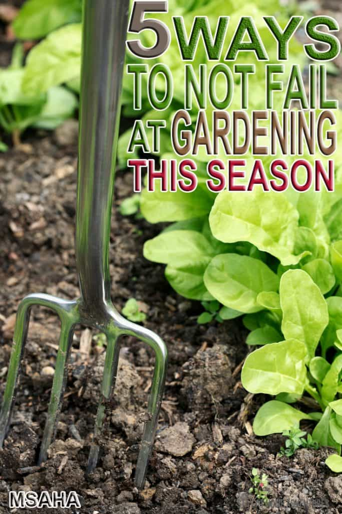 Thinking about starting your own garden at home? Learn these 5 tips to not fail at gardening and a free 10 days email course to help you enjoy a successful gardening season this year! Beginner gardeners are going to love this course and avoid failing at gardening this year.#Gardening
