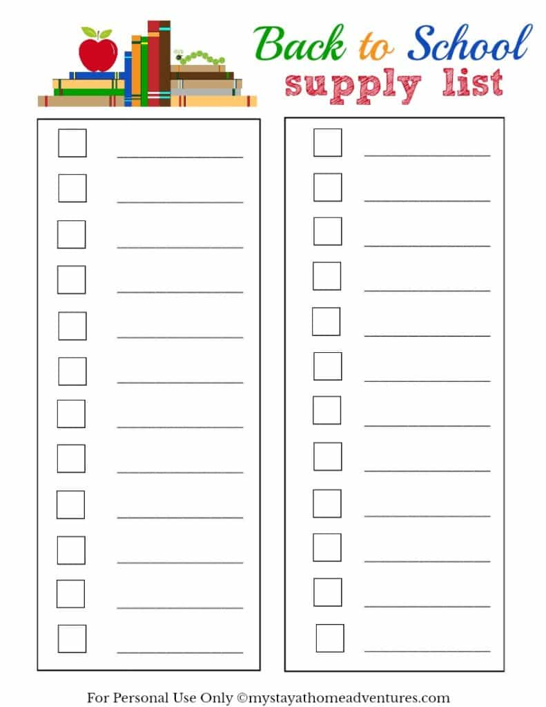 Free Back To School Supply List - download it here