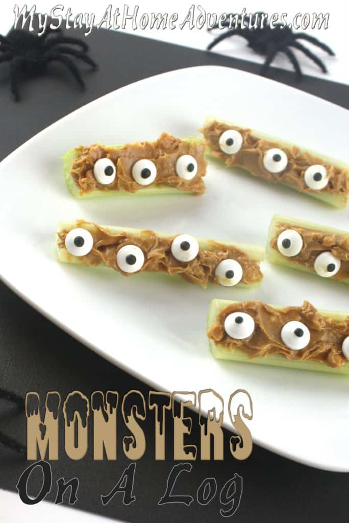Looking for a Halloween healthy snack? This Monsters on a log recipe will do the trick. Learn how to create them and have fun while eating them.