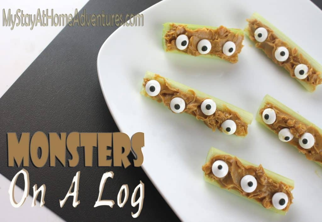 Halloween Healthy Snacks - Monster on a Log