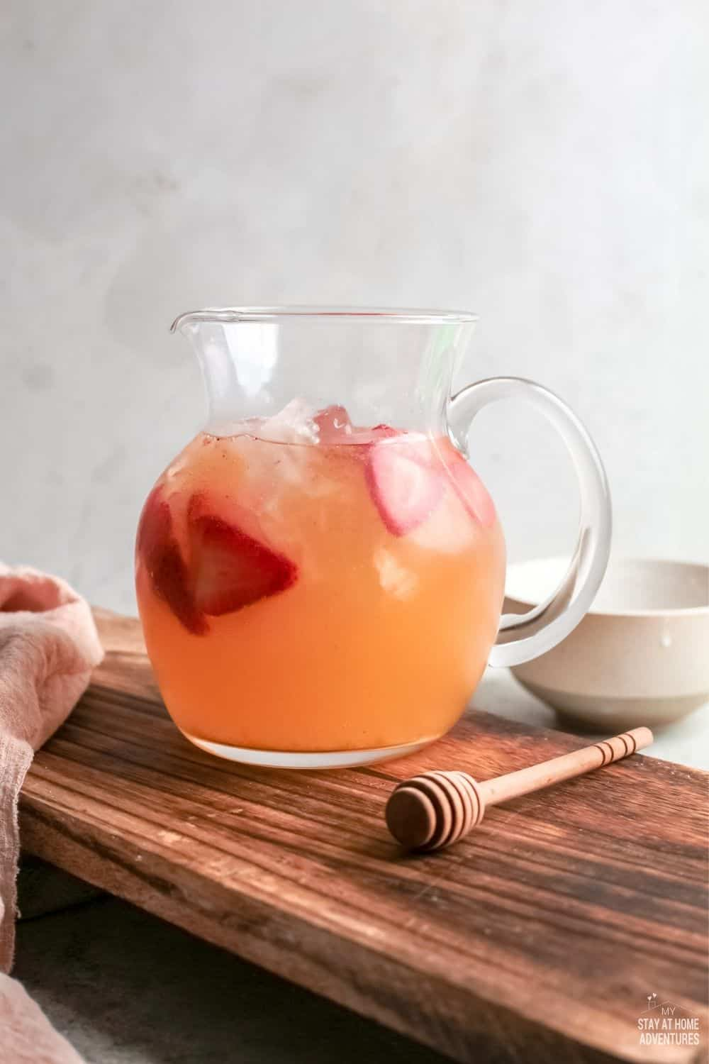 If you want to enjoy a refreshing drink this summer, then try strawberry lemonade. This sparkling beverage is perfect for your next barbecue or family get-together. Whip up a batch today! via @mystayathome