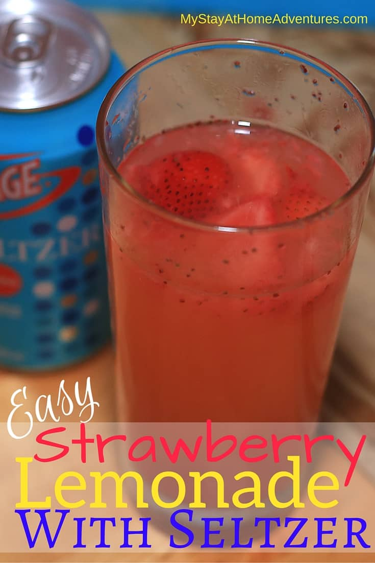 An easy strawberry lemonade with Seltzer is a great drink to add to this holiday season. #DrinkVintage #seltzer