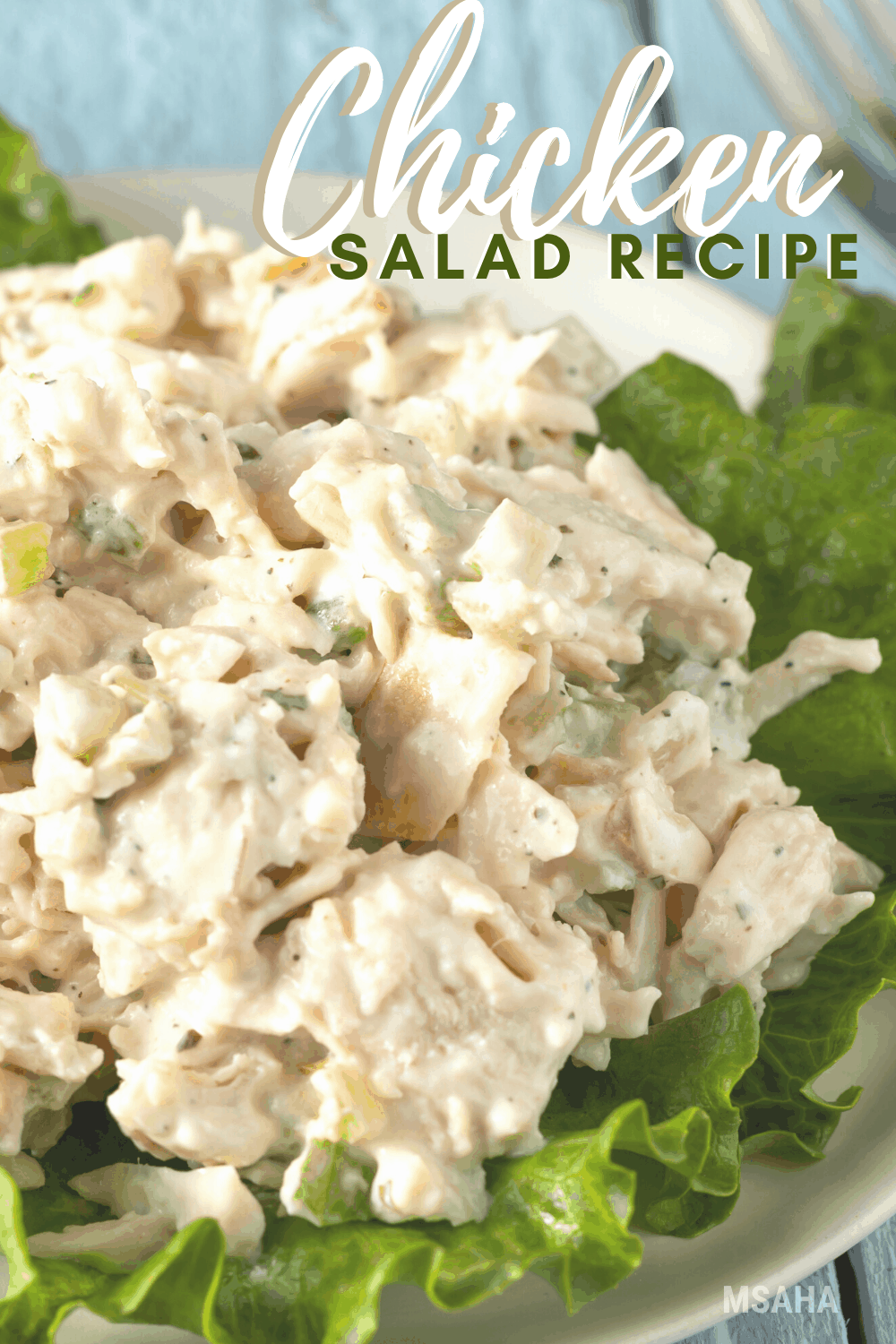 This easy chicken salad recipe is made with cooked chicken, celery, hard-boiled egg, relish, mayo, and Greek seasoning. #chickensalad #easychickensalad #salad #chickenrecipe via @mystayathome