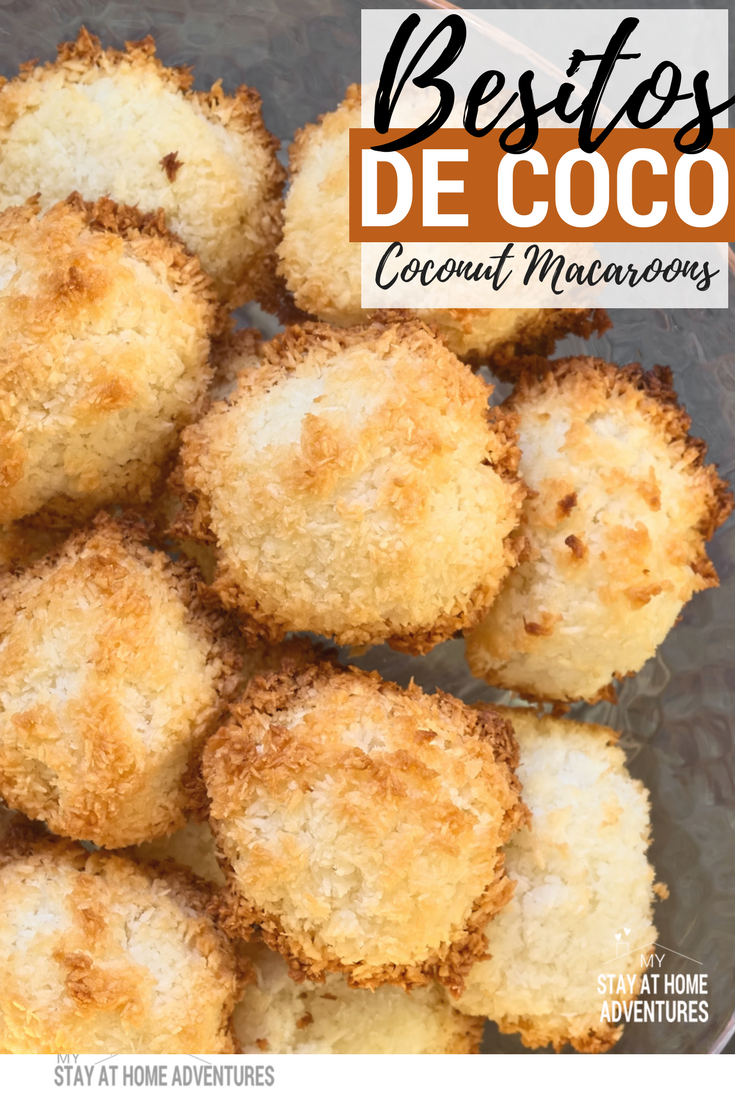 Simple yet so delicious, Besitos de Coco or Coconut Macaroons is a great treat to enjoy with the whole family. Only 3or 4 ingredients and you get your self a delicious coconut treat that reminds you of your childhood.  #recipes #PuertoRican #latinrecipes #coconuts #Bake