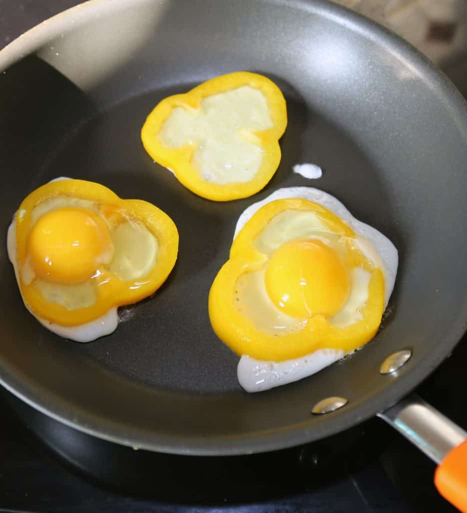 fried eggs and peppers