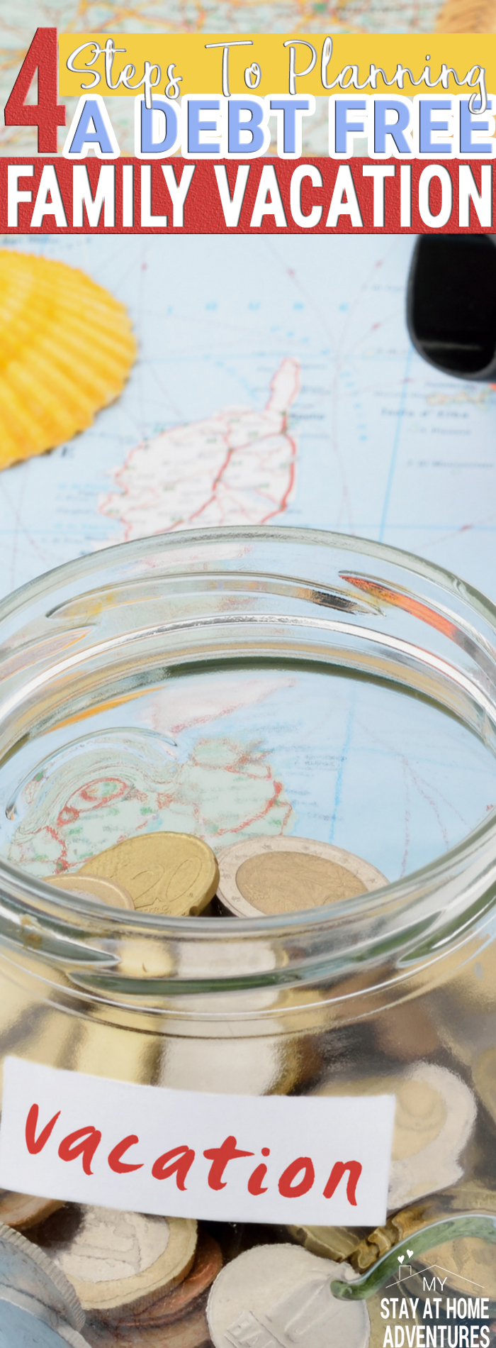 Want to plan a debt free family vacation this year? Start with these four steps to help you plan and achieve your debt free vacation you and your family are going to love. Eliminate vacation debt with these four steps.