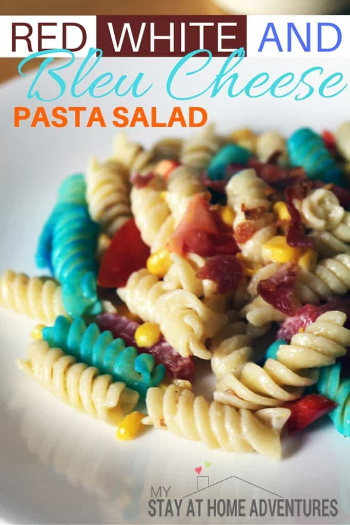 Red, White, and Bleu Cheese Pasta Salad is amazing and so easy to make. Surprise everyone and let this recipe be the talk this summer season. #SeeTheLite
