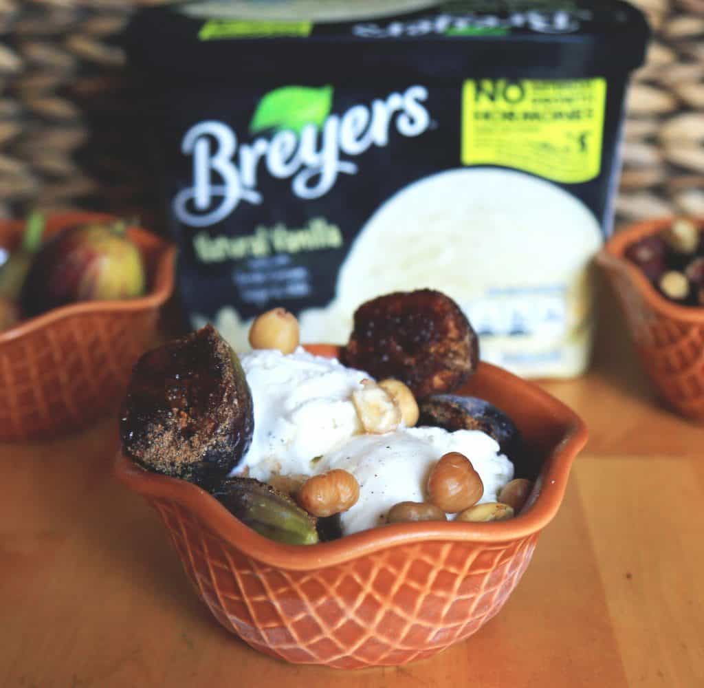 Spice Roasted Figs with Hazelnuts and Vanilla Ice Cream - Let's celebrate Breyers 150th celebration with this amazing mouth watering Spice Roasted Figs with Hazelnuts and Vanilla Ice Cream.