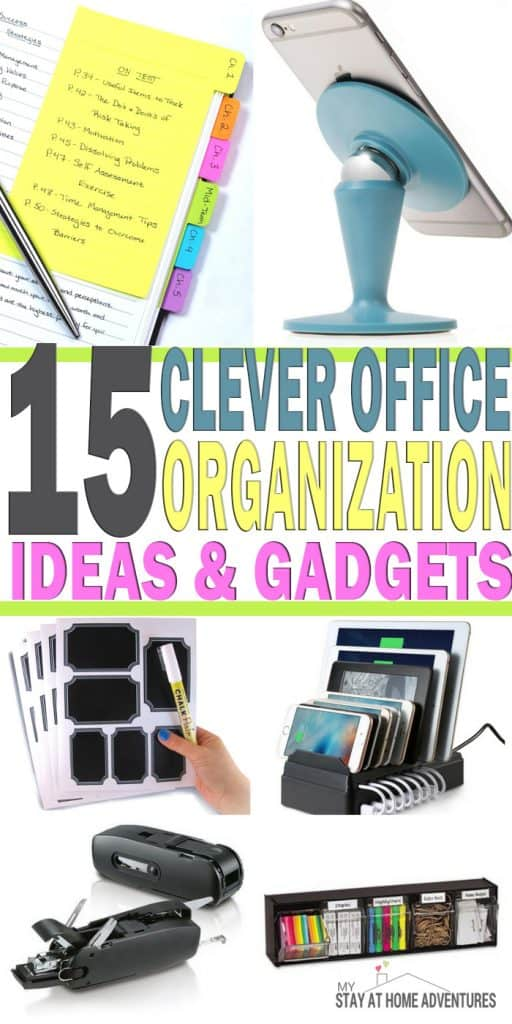 Clever Office Organization Ideas and Gadgets - Finding and coming up with ideas to keep your home office organized can be challenging. Here are Office Organization Ideas and Gadgets to help you!