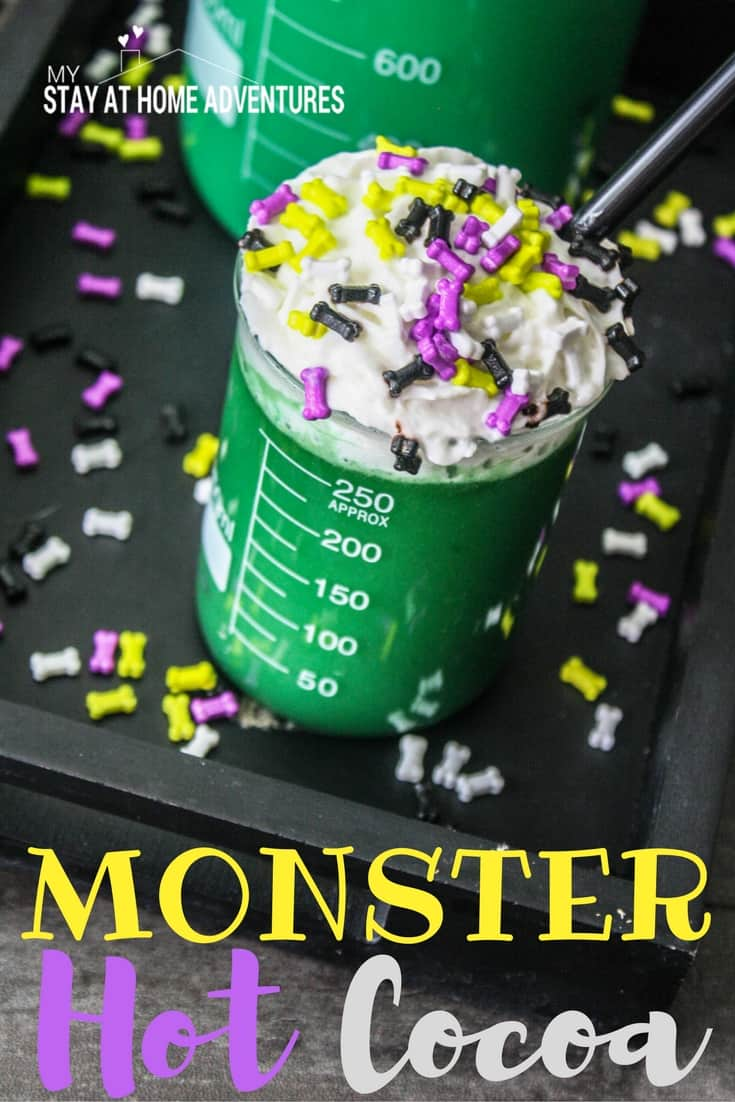 This fun Halloween drink called Monster Hot Cocoa is going to be a hit with everyone. Learn how to make this Halloween hot cocoa recipe today!