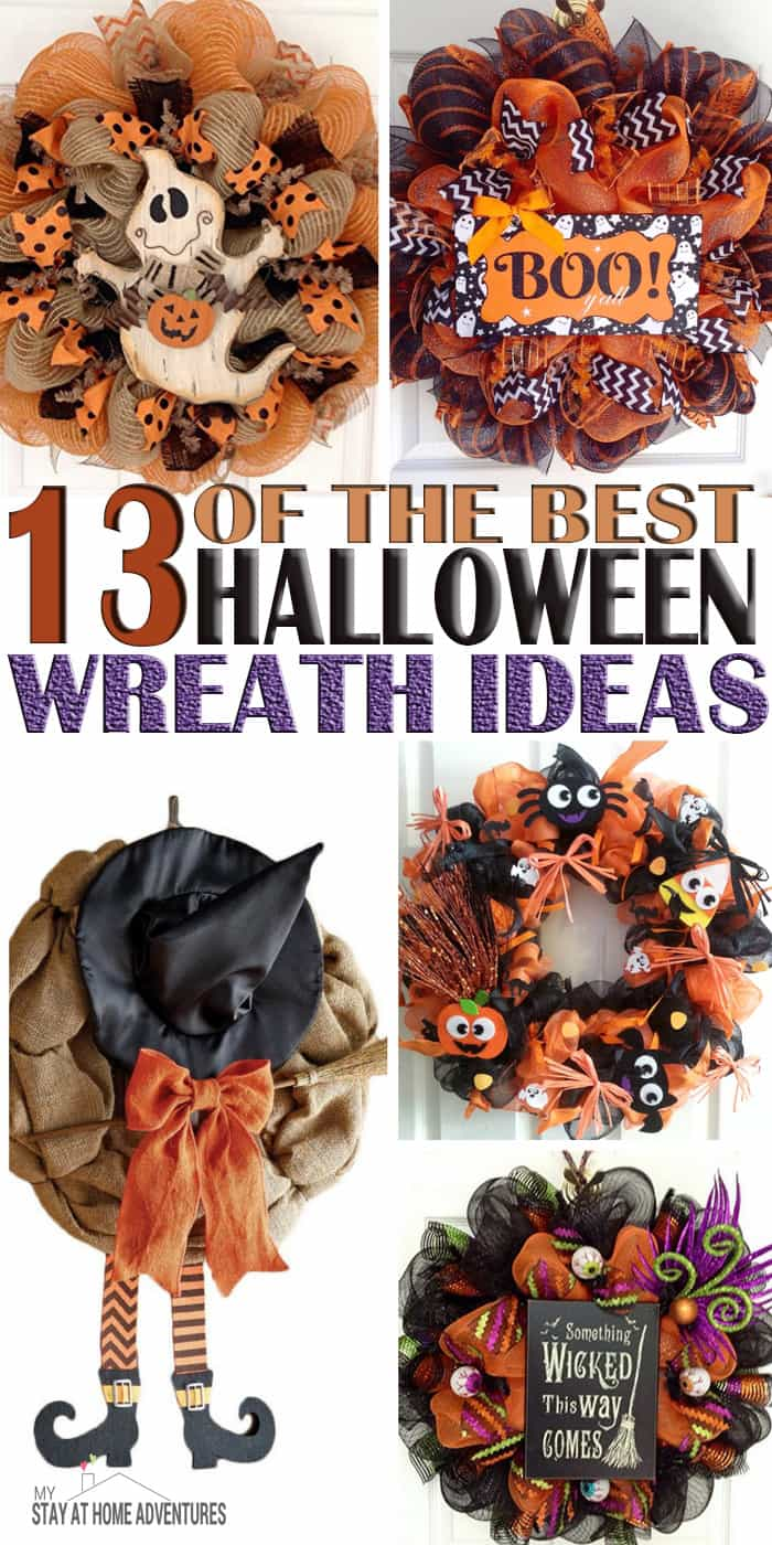 Looking for some Halloween wreaths ideas to help you on your next DIY wreath project? Check out 13 of the best Halloween wreaths ideas from around the web. via @mystayathome