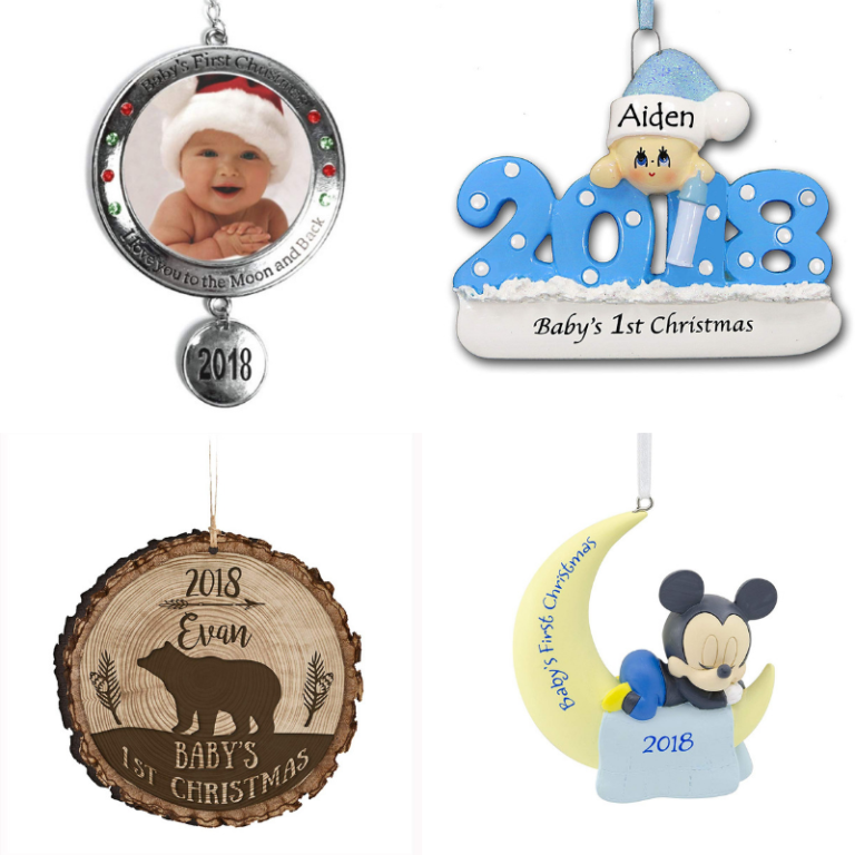 32 Baby Boy First Christmas Ornaments for 2018