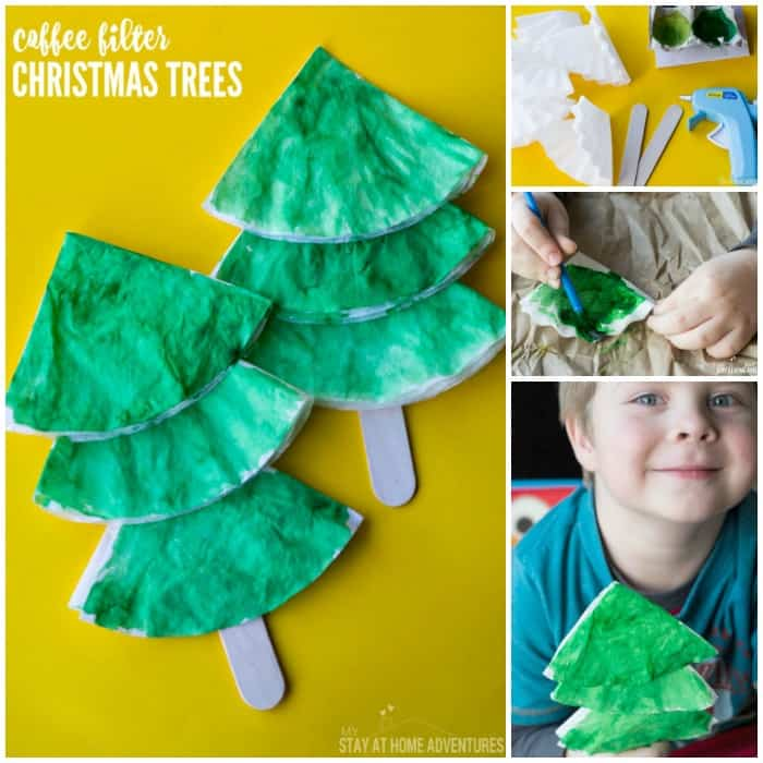 Looking for an easy Christmas craft? Try these coffee filter Christmas trees! They're quick, easy, and perfect for tots and preschoolers.