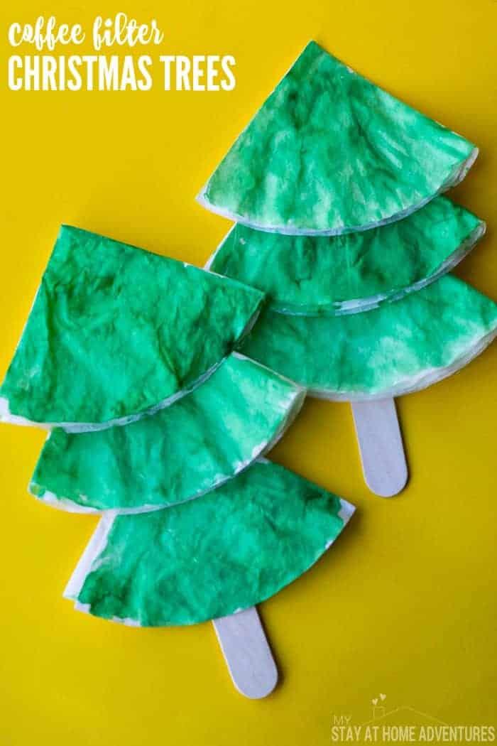 Coffee Filter Christmas Tree Craft for Kids - Looking for an easy Christmas craft? Try these coffee filter Christmas trees! They're quick, easy, and perfect for tots and preschoolers.
