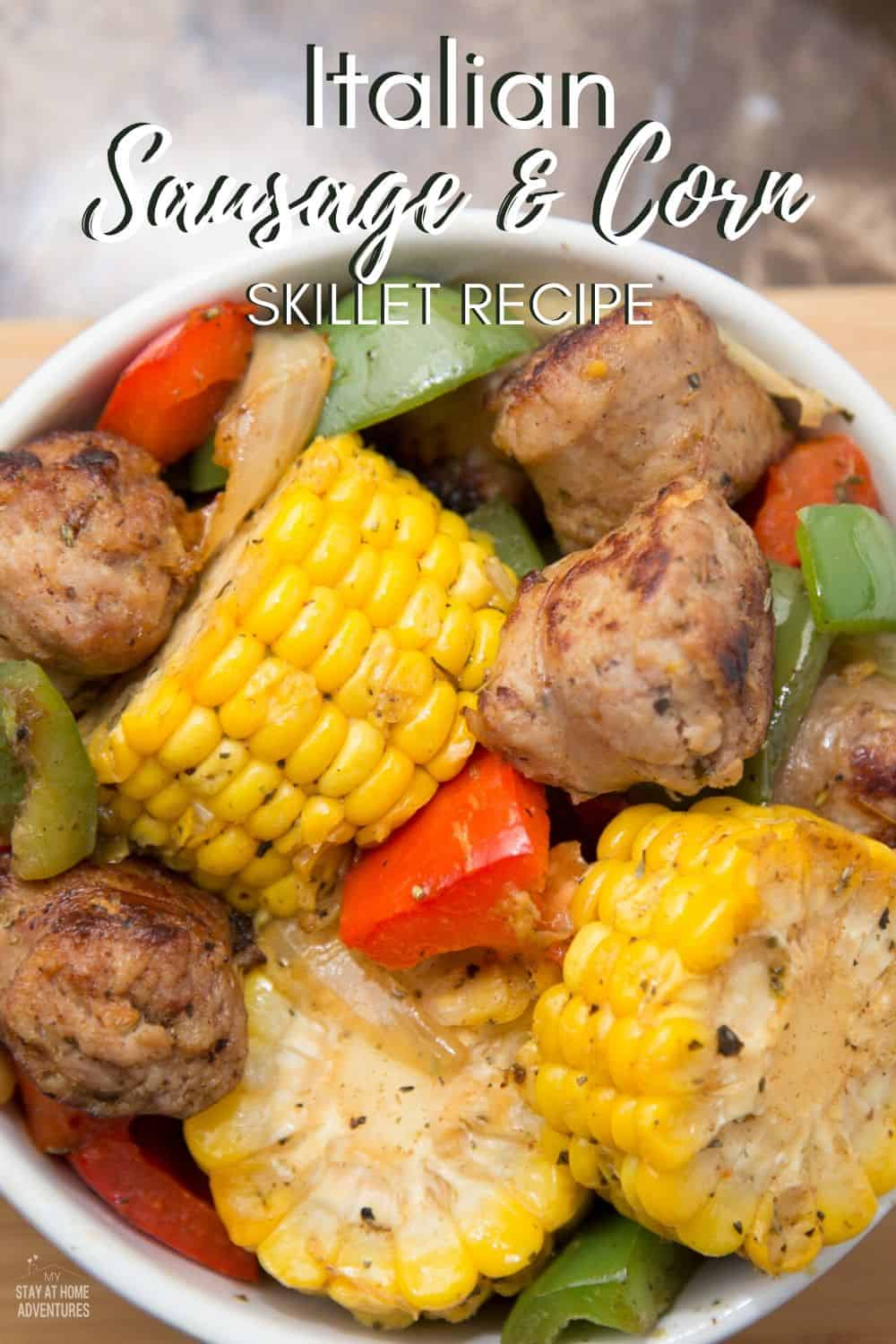 An amazing Italian Sausage and Corn skillet recipe that is full of fresh flavor. Learn how you can make this quick, easy, and affordable corn recipe today. via @mystayathome