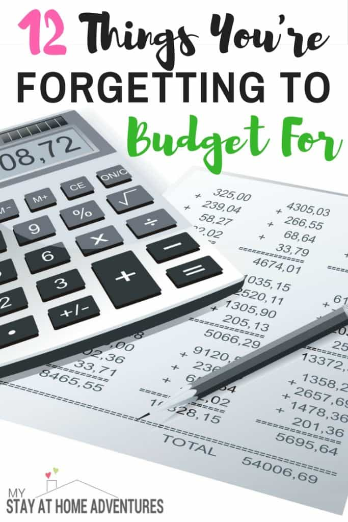 """Learn the 12 Common Items People Forget to Budget For and how to fix it today. Many people tend to budget for """"regular"""" things and forget about these common things that will affect our finances in the future."""
