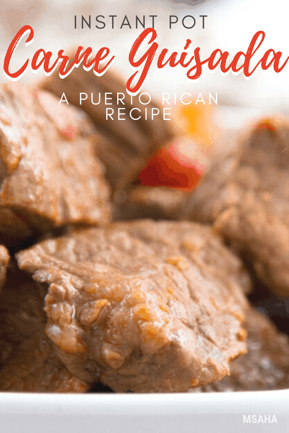 Delicious and flavorful Puerto Rican Carne Guisada or beef stewed made using an Instant Pot. Find out how easy it is to make this authentic dish. #puertoricanrecipe #puertoricanfood #instantpot via @mystayathome