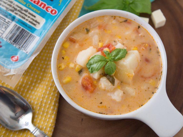 Sopas de Papas y Tomate/Tomato and Potato Soup With Tropical Queso Blanco