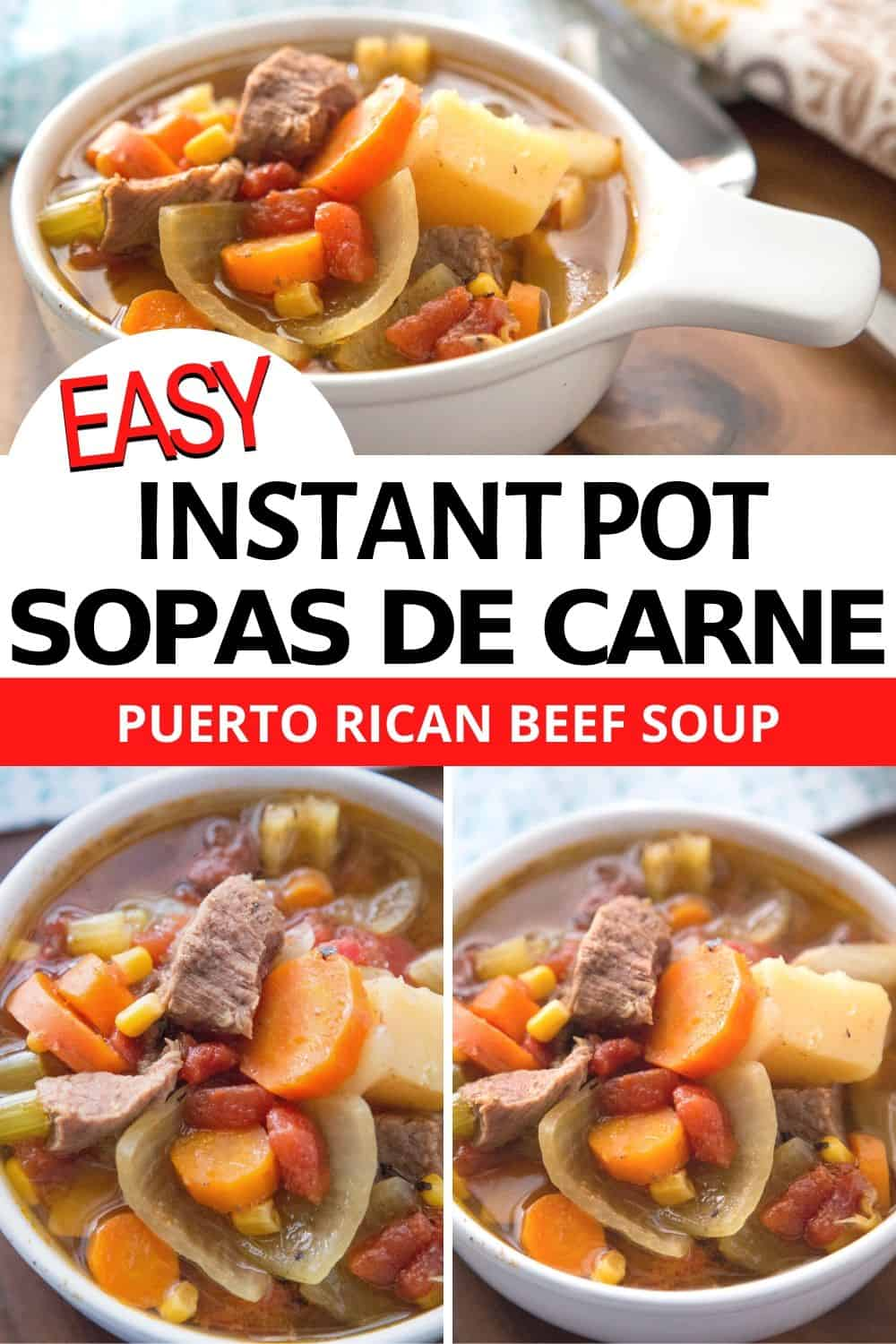 Check out this Instant Pot Sopa de Carne recipe or Puerto Rican Beef Soup recipe that you and your family are going to love. Slow cooker recipe available. via @mystayathome