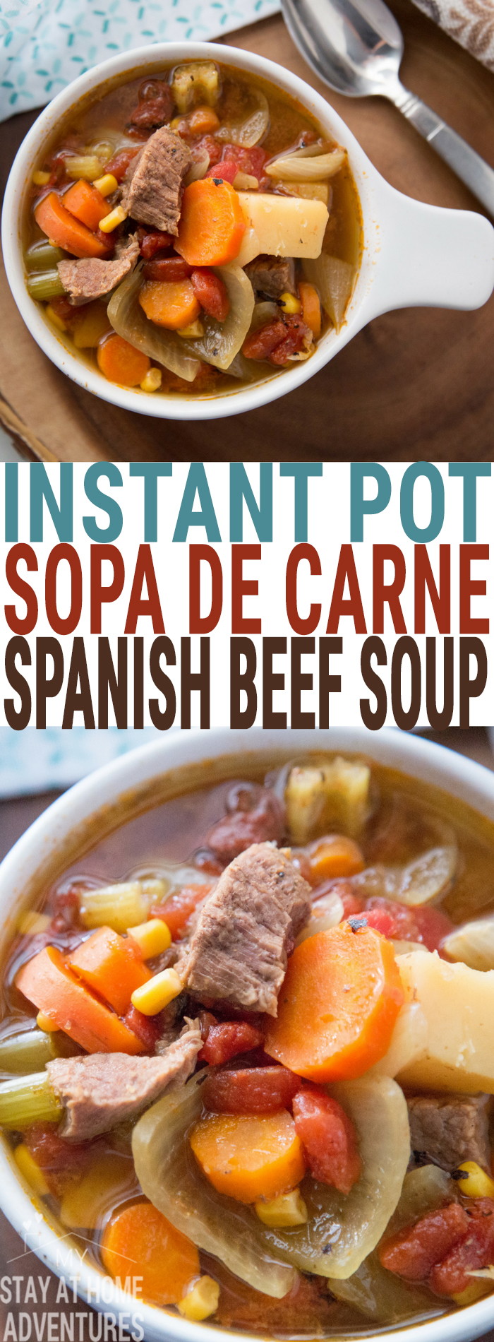Looking for a delicious and simple Puerto Rican recipe? Check out this Instant Pot Sopa de Carne recipe or Puerto Rican Beef Soup recipe that you and your family are going to love. Don't have an Instant Pot check out our slow cooker recipe! #instantpot #Pressurecooker #PuertoRican #LatinRecipe #Food #recipe