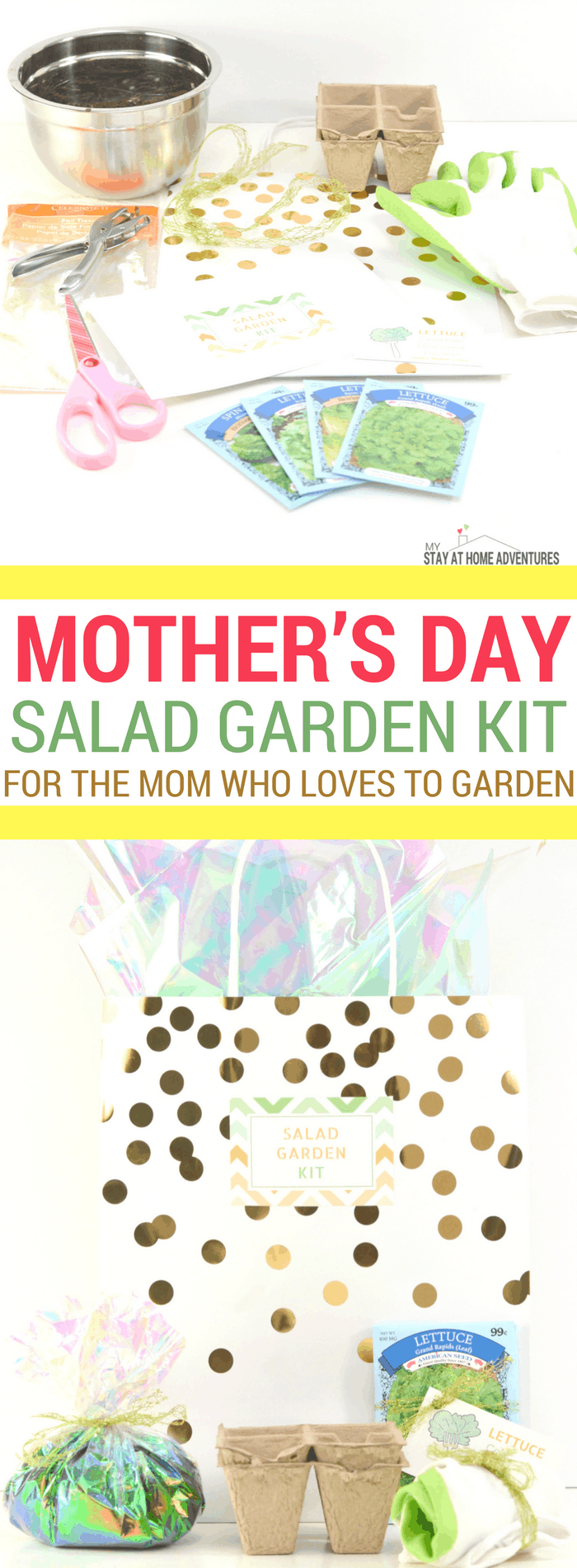 Looking for a cute and affordable Mother's Day DIY gift? Check out this super cute Mother's Day Salad Garden Kit for the mom who loves gardening and of course salad! Comes with free printable cards and all you need can be bought at your local dollar store! #Mothersday #giftideas #Garden #Seeds #DIY #gifts #Gardening #Mom