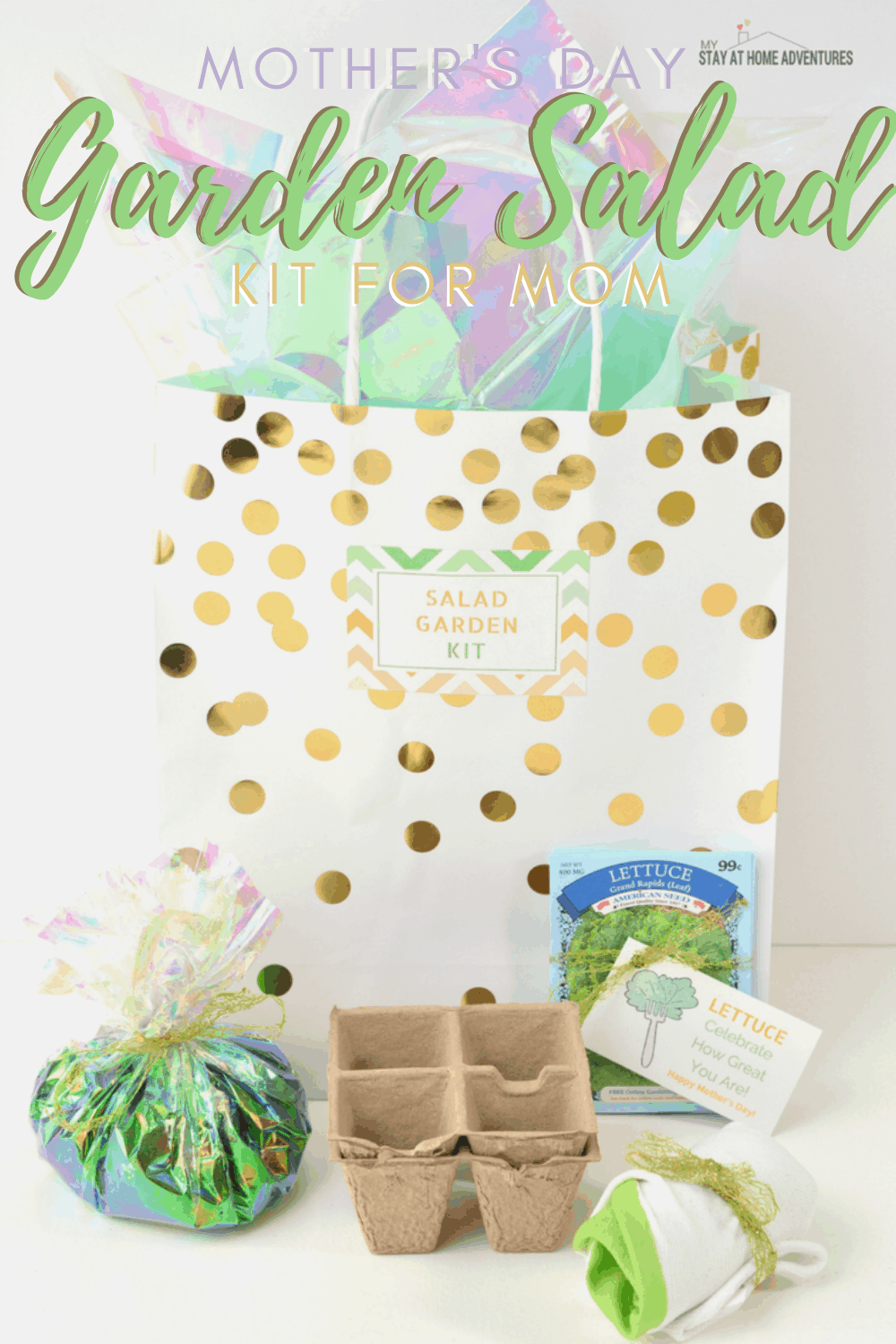 Last-minute, budget-friendly, Mother's Day DIY Gift for the mom who loves to garden. Learn how to create this Salad Garden Kit with free printables included. #gardening #mothersday #diygift via @mystayathome
