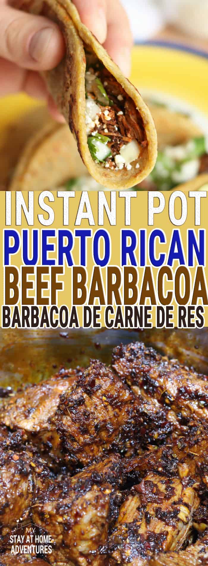 Flavorful and delicious! IThis inspired Puerto Rican style beef barbacoa recipe is easy to make when you use an Instant Pot or electric pressure cooker.  via @mystayathome