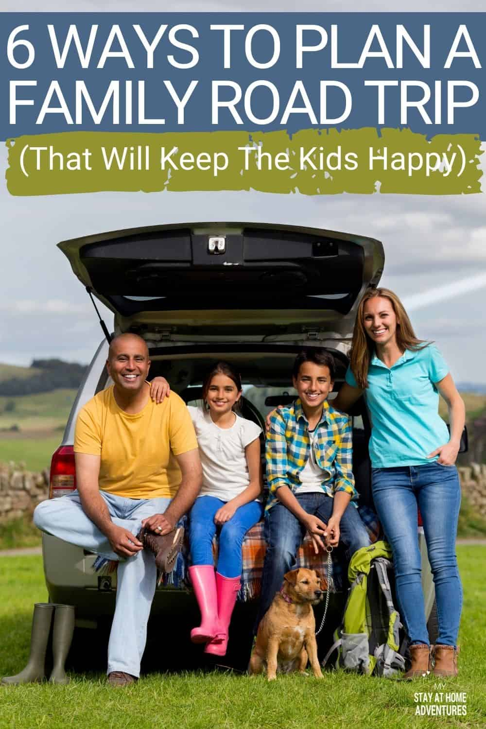 Planning a family road trip with kids? Learn six ways to plan the perfect family road trip that will keep everyone in your family happy! #familyroadtrip #roadtrips #tips #ideas via @mystayathome