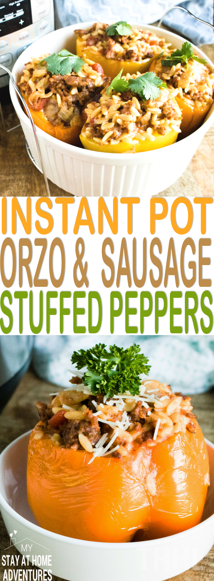 Learn how to make Instant Pot Orzo & Italian Sausage Stuffed Peppers that is so easy and delicious you and your family are going to love! #Instantpot #Recipes #Yummy