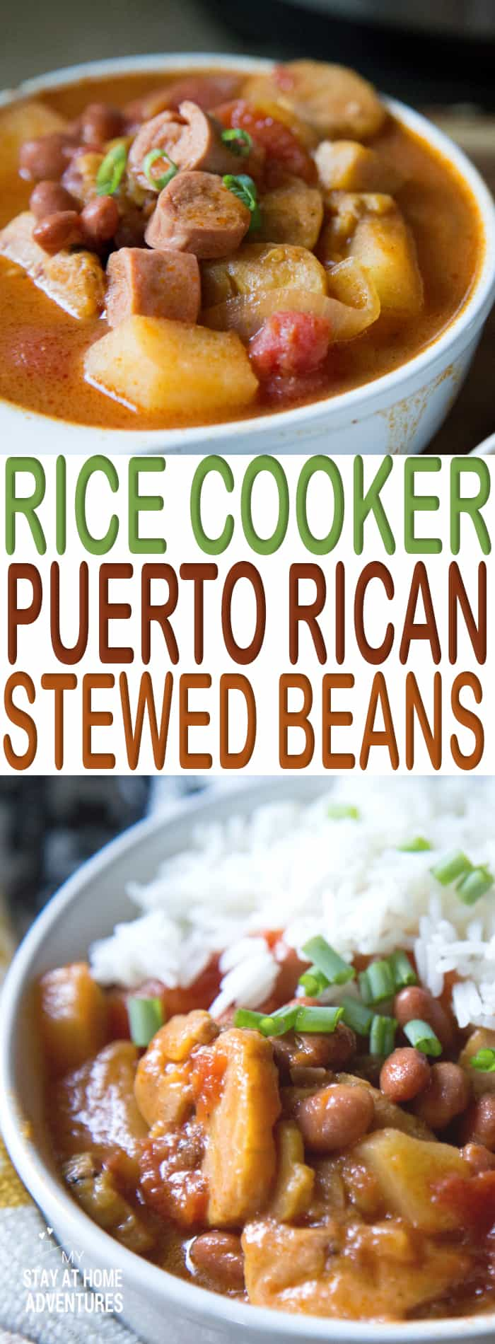 You are going to love this Rice Cooker Puerto Rican Beans! Made using a Hamilton Beach Rice & Hot Cereal Cooker this stewed bean recipe is to die for! #Recipe #yummy #PuertoRican #Good #beans #delicious