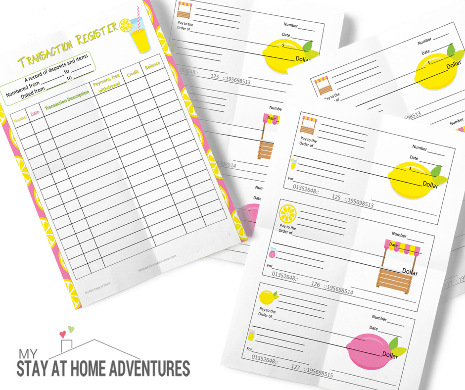 free printable checks for kids - Lemonade stand checks for kids to play
