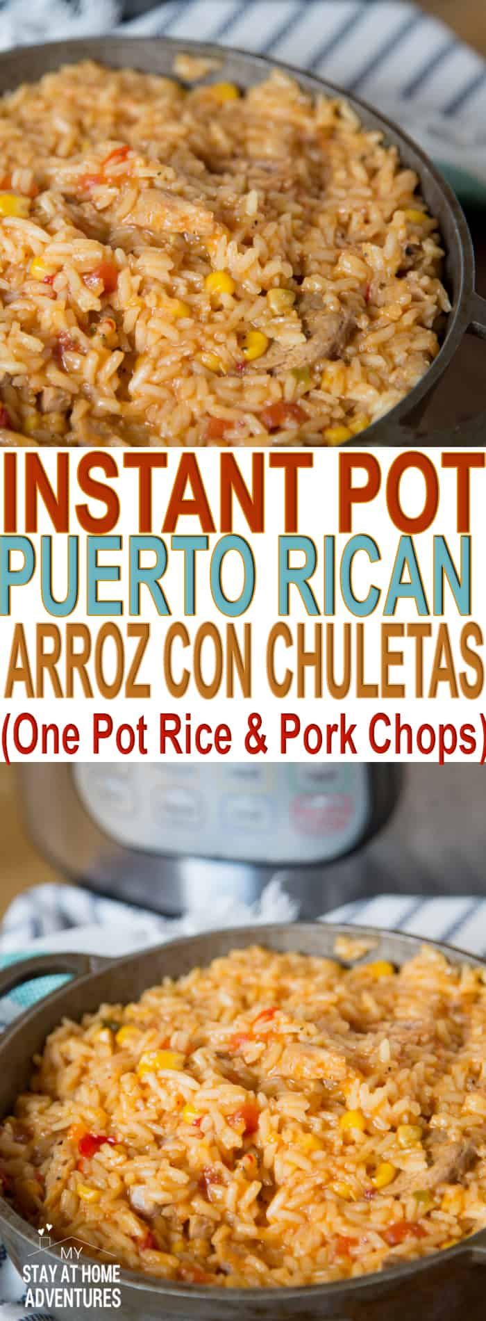 Learn how to make this one pot Instant Pot Rice and Pork Chops recipe or Puerto Rican Arroz con Chuletas. A fast meal and easy to make.