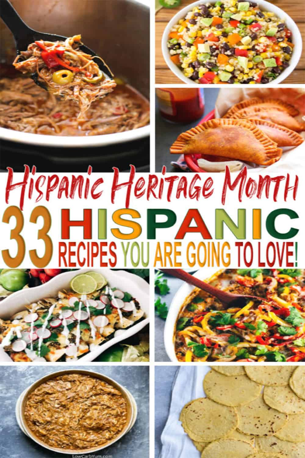 Celebrate National Hispanic Heritage Month with these thirty-three delicious Latin-inspired recipes! From Mexican to Puerto Rican find them all here. via @mystayathome