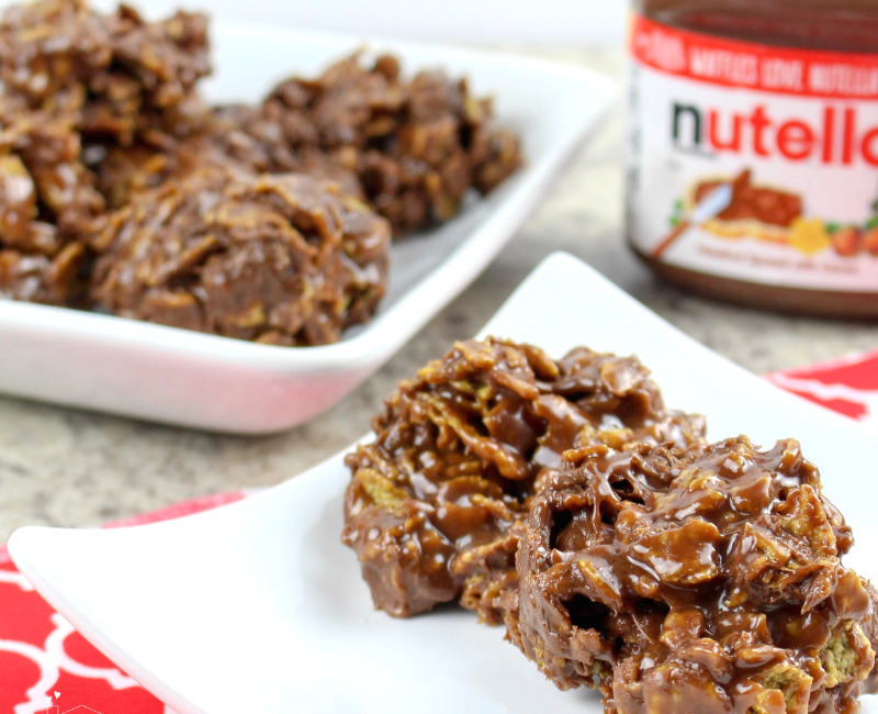 No Bake Nutella Cornflake Treats (4 Ingredients Only)