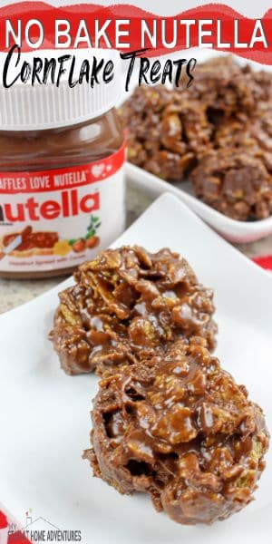 Learn how to make this 4 ingredients No Bake Nutella Cornflake Treats that is super simple to make and delicious as well.  via @mystayathome