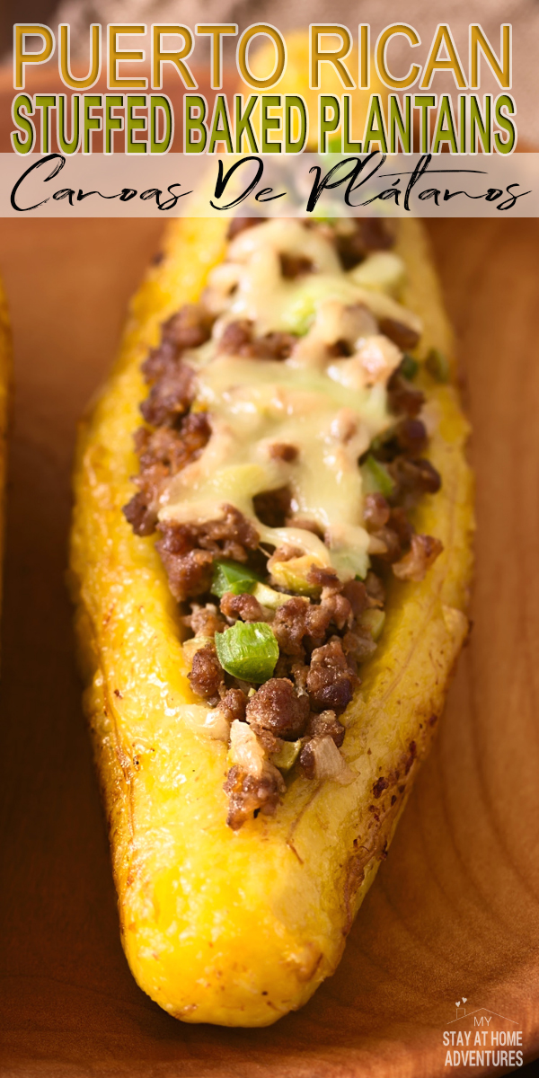 Learn how to make this Puerto Rican stuffed baked plantains or Canoas De Plátanos Maduros that your family is going to love.