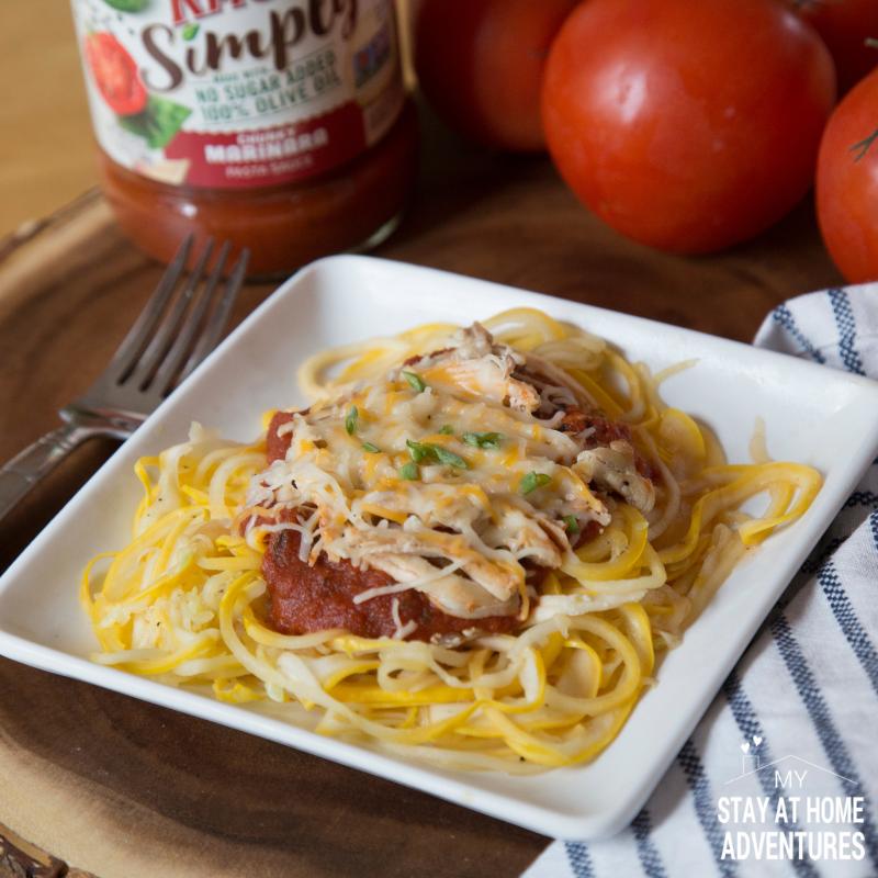 No sugar squash spaghetti with chicken and cheese.
